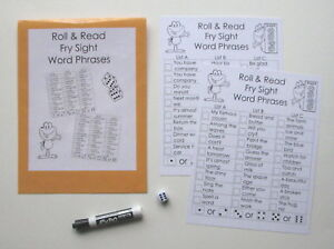 Details about Teacher Made Fluency Center Game Roll & Read Second Grade Fry  Sight Word Phrases