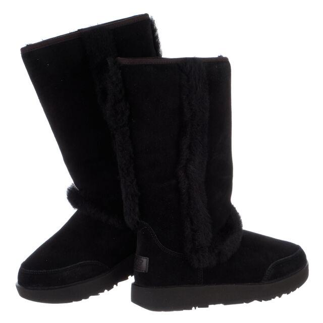 860eb0092cb UGG Sundance Waterproof Black Suede Sheepskin Tall Women`s BOOTS Size US 8