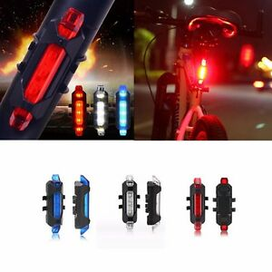 5LED Rechargeable Bicycle Cycling Tail Rear USB Safety Warning Light White lx