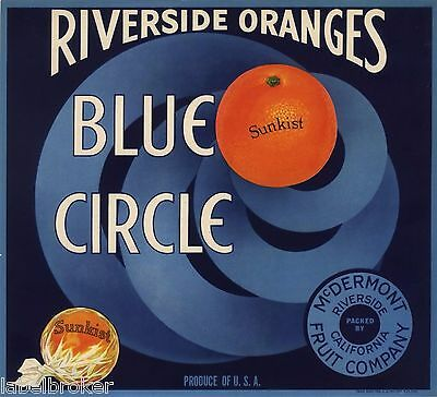 CRATE LABEL ART DECO CIRCLE RIVERSIDE VINTAGE BLUE STREAMLINE MODERNISM 1930S
