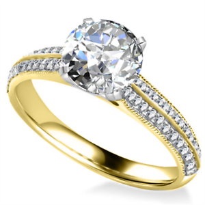 14K Solid Yellow gold 2.02 Ct Round Bridal Diamond Engagement Ring Size 5 0501