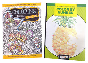 Adults-Color-by-Number-Activity-Book-Mandalas-Adult-Coloring-Books-Set-of-2-NEW