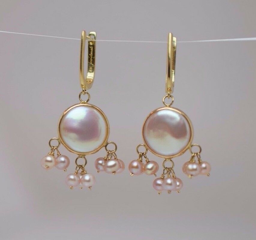 14K Yellow gold Pearl Drop Earrings, all Pearls Have a Pinkish Hue