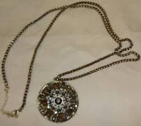 Avon Embellished Hematite Colored Medallion Necklace