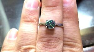 1 ct Intense Blue Diamond Solitare Ring EHM Cultured Diamond Engagement Ring