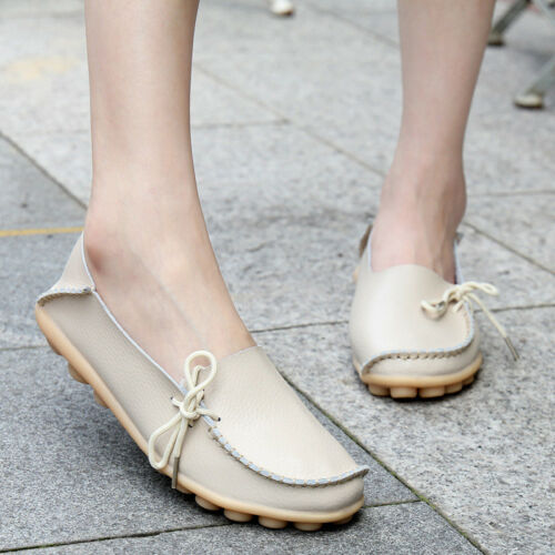 Women Leather Slip on Loafers Moccasin Flat Casual Shoes Oxfords Work School