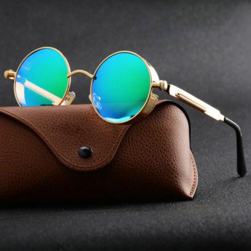 Vintage Steampunk Sunglasses Round Mirrored Polarized cool Retro Eyewear U87