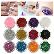 12 Mixed Color Acrylic Glitter Shimmer Dust Powder For Nail Art Craft Decoration