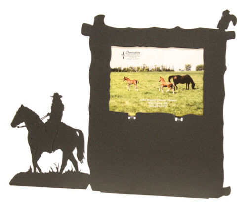 Female horse back rider black metal Vertical picture frame holds a 5x7H photo