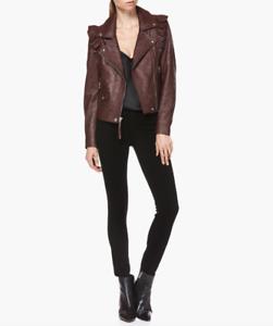 5b3883147f74 Image is loading PAIGE-Annika-Moto-Jacket-Dark-Currant-Leather-Size-