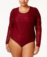 Women Eyeshadow Trendy Plus Size Lace Bodysuit Top 2x Burgundy/black