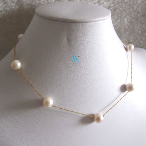 """18/"""" 9.0-10.0mm White AA Freshwater Pearl Tin Cup Chain Necklace G"""