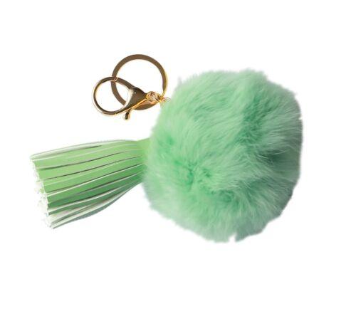 NOVAGO® Pompon Bijou de sac ou porte clé en poil de lapin avec Houppe