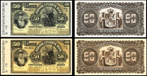 2 PUERTO RICO 50 PESOS 1894 BANKNOTES !NOT REAL! !COPY