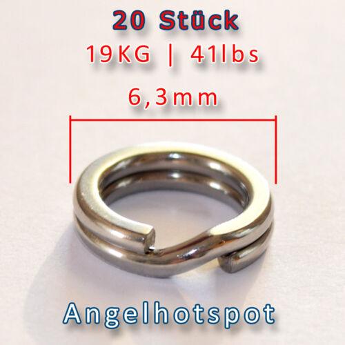 20 SprengringeSEHR STARK19KG TragkraftØ6,3mm Splitringe Angelhotspot X1