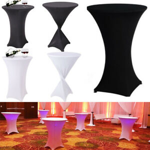 10x White Black Cocktail Highboy Spandex Table Cover Round Tall Pub