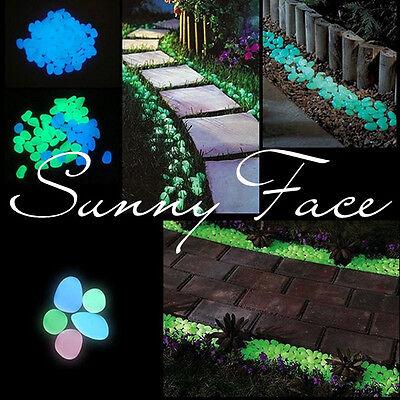 100pc Glow in the Dark Fluorescent Pebbles Stones Walkway Parterre Garden Decor
