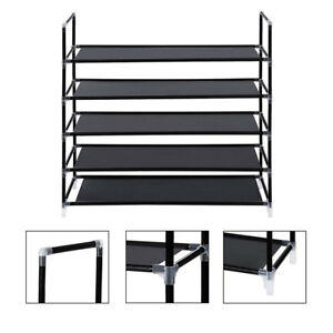 Shoe Rack Organizer Storage Pairs Shoes Shelves Space 5 Tier 25 Pairs Standing