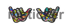 2x Hang Loose Stickerbomb Sticker Decal Car Truck USA America Hawaii Windows
