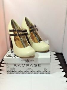 Rampage-Womens-Chunky-Block-Heels-Mariska-Bone-Black-Sz-7-5M-New