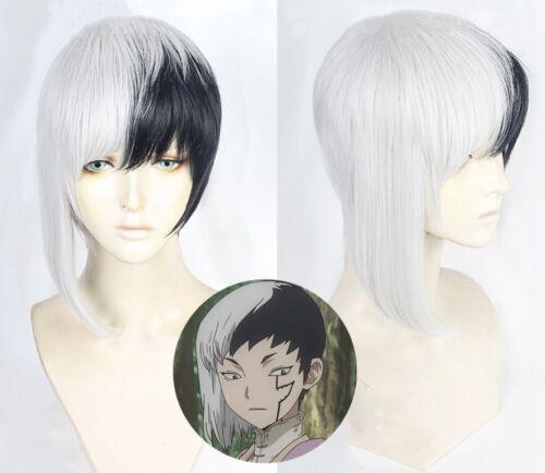 Track Stone Asagiri Gen Black White Wig Hair Cosplay Costume Wig++Wig cap Dr