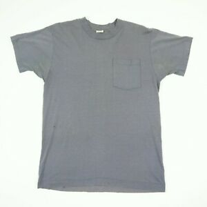 Vtg-Plain-FOTL-Selvedge-Pocket-Work-T-Shirt-M-Faded-Distressed-Grunge-Gray-USA