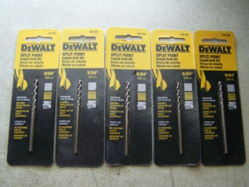 "5 PK Dewalt DW1209 Size 9//64/"" Cobalt Drill Bit Split Point Cuts Stainless Steel"