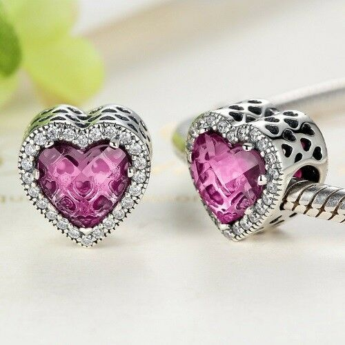 925 Silver Pink Crystal Radiant Hearts,Heart Charm With Cubic Zirconia Studs