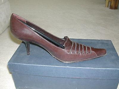 Zapatos de Cuero anabonilla Damas Tacón Marrón Oscuro