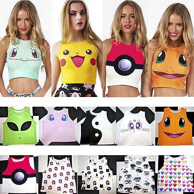 Women Cartoon Emoji print sleeveles Punk Vest Pokemon Pikachu High Neck Crop Top