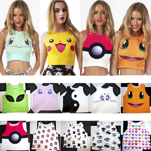 NEW Women Bodycon Pokemon Emoji Print Punk Vests Shirt Crew Neck Tank Top Beach