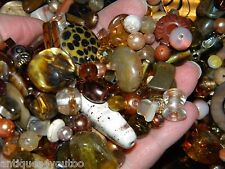 NEW LOT 6/oz BROWN's 6-15mm LOT MIXED LOOSE BEADS  Glass, shell, pearls NO JUNK