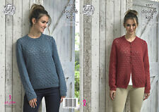 Womens Double Knitting Pattern Ladies Lace Sweater /& Slipover King Cole DK 5227