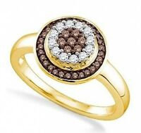 Charming 10k Yellow Gold Chocolate Brown & White Diamond Cluster Ring .30ct