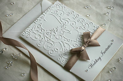 30 Embossed Wedding Invitations (H-d) Personalised Handmade - Satin & diamante
