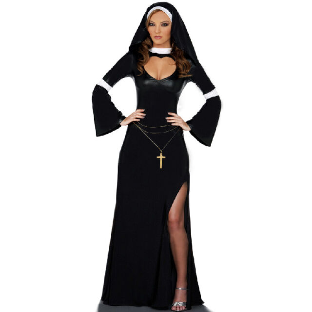 Nun Sister Habit Religion Cosplay Adult Halloween Hen Party Fancy Dress Costume