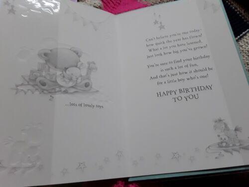 large card cute Age 1 one Happy Birthday greetings card boy