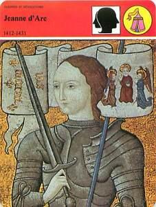 FICHE-CARD-Jeanne-d-039-Arc-1412-1431-Sainte-catholique-Domremy-Lorraine-France-90s
