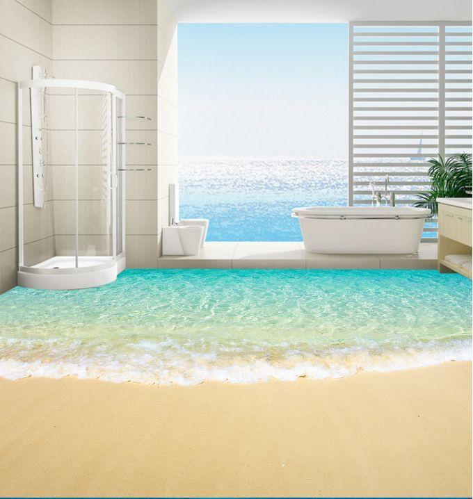 3D Spiaggia Onde 284 Pavimento Foto Wallpaper Murales Muro Stampa Decalcomania
