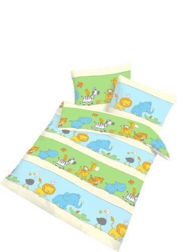 2 tlg Kinder Baby Bettwäsche 100x135 cm blau grün Baumwolle B-Ware NEU