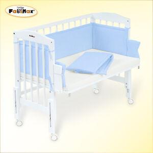 fabimax beistellbett pro wei mit matratze und nestchen amelie blau ebay. Black Bedroom Furniture Sets. Home Design Ideas