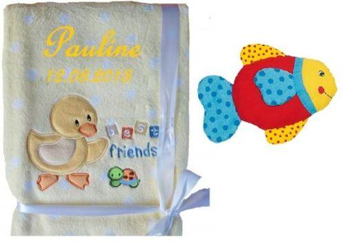 Babydecke mit Namen bestickt GRATIS Rassel Kinderdecke Fleece Baby Decke