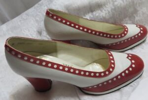 aee287d74ad57 Details about Vintage Women's Amano Dress Shoes Red White Pumps Heels 60's  6.5 M Nailed sole