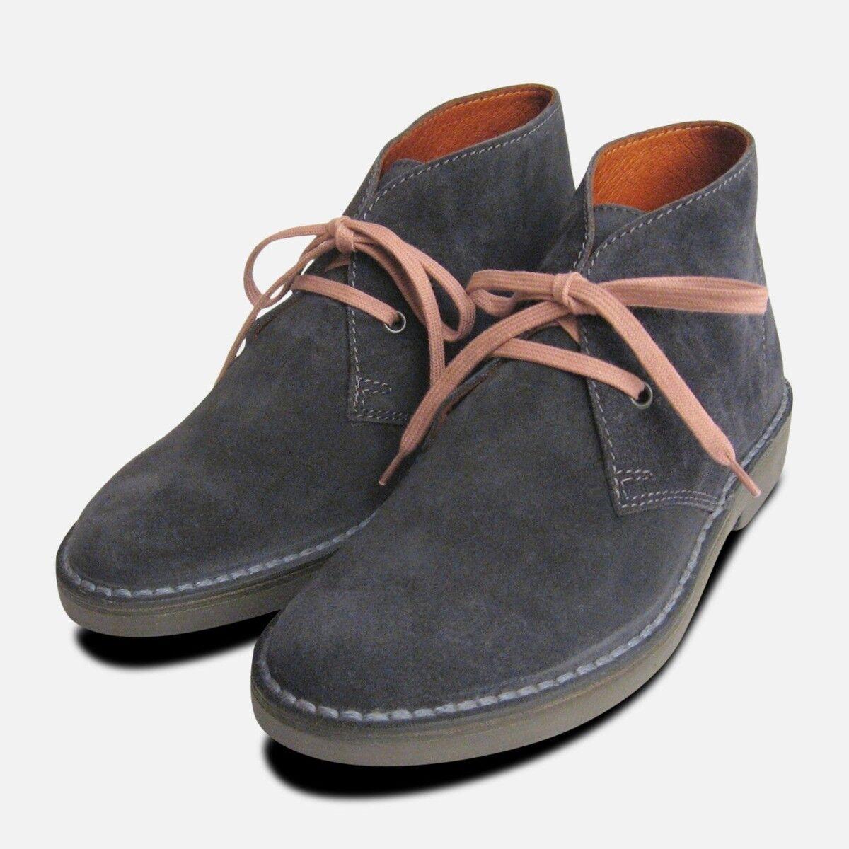 Ladies Dark Dark Dark Grey Suede Italian Desert Boots 5d5af6