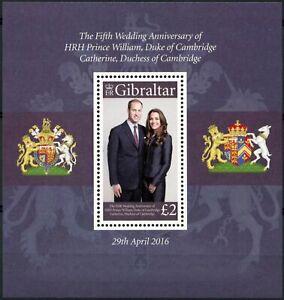 GIbraltar-2016-Princes-William-amp-Kate-5th-Wedding-Anniv-MNH-M-S-D85904