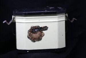 Antik Französisch Emaille Brotdose Dose Enamelware Graniteware Rost lb09