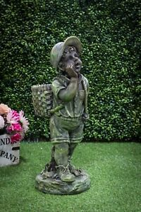 Image Is Loading Boy Carrying Basket Garden Statue Figurine Planter Stone
