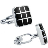 Mens Classic Stainless Steel Cufflinks With Black Enamel on sale