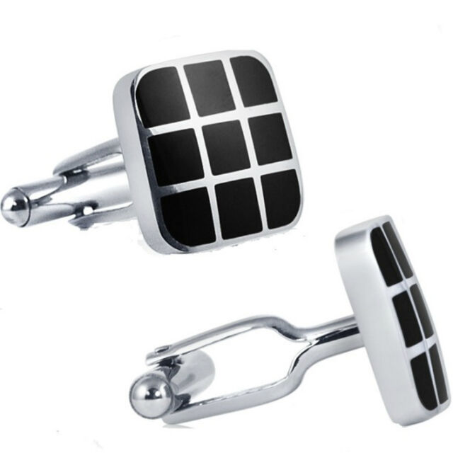 Mens Classic Stainless Steel Cufflinks with Black Enamel