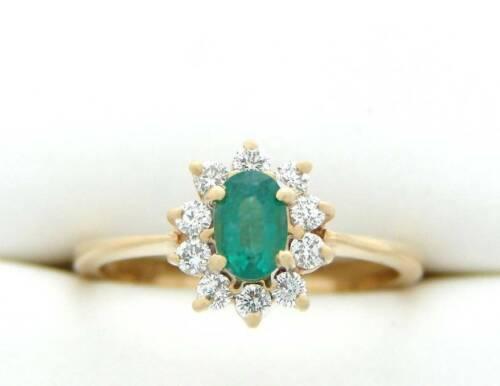 EMERALD & DIAMOND RING FINE NATURAL GREEN EMERALD